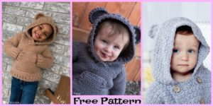 diy4ever-Crochet Kids Hibernation Hoodie - Free Patterns