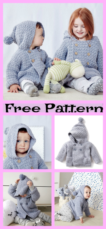 diy4ever-Crochet Kids Hibernation Hoodie - Free Patterns