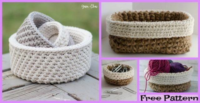 Crochet Mini Nesting Baskets – Free Patterns