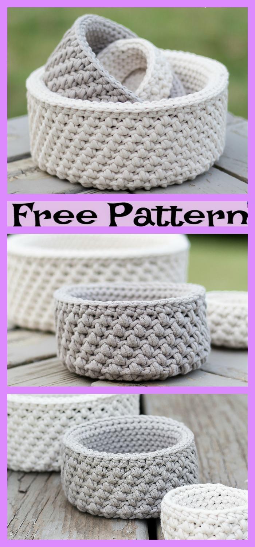 diy4ever-Crochet Mini Nesting Baskets - Free Patterns