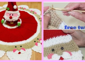 Crochet Santa Christmas Tree Skirt – Free Tutorial