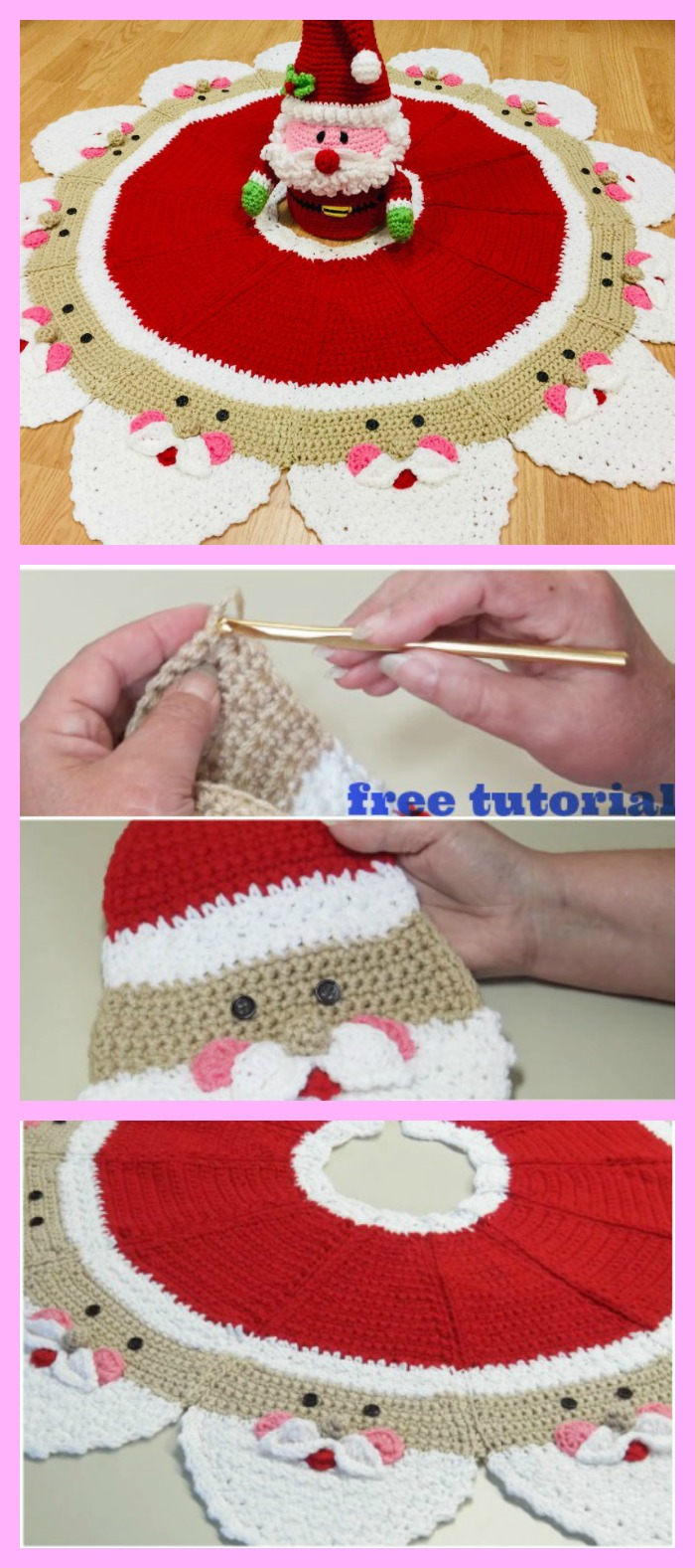 diy4ever-Crochet Santa Christmas Tree Skirt - Free Tutorial