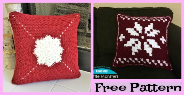 Crochet Snowflake Pillow – Free Patterns