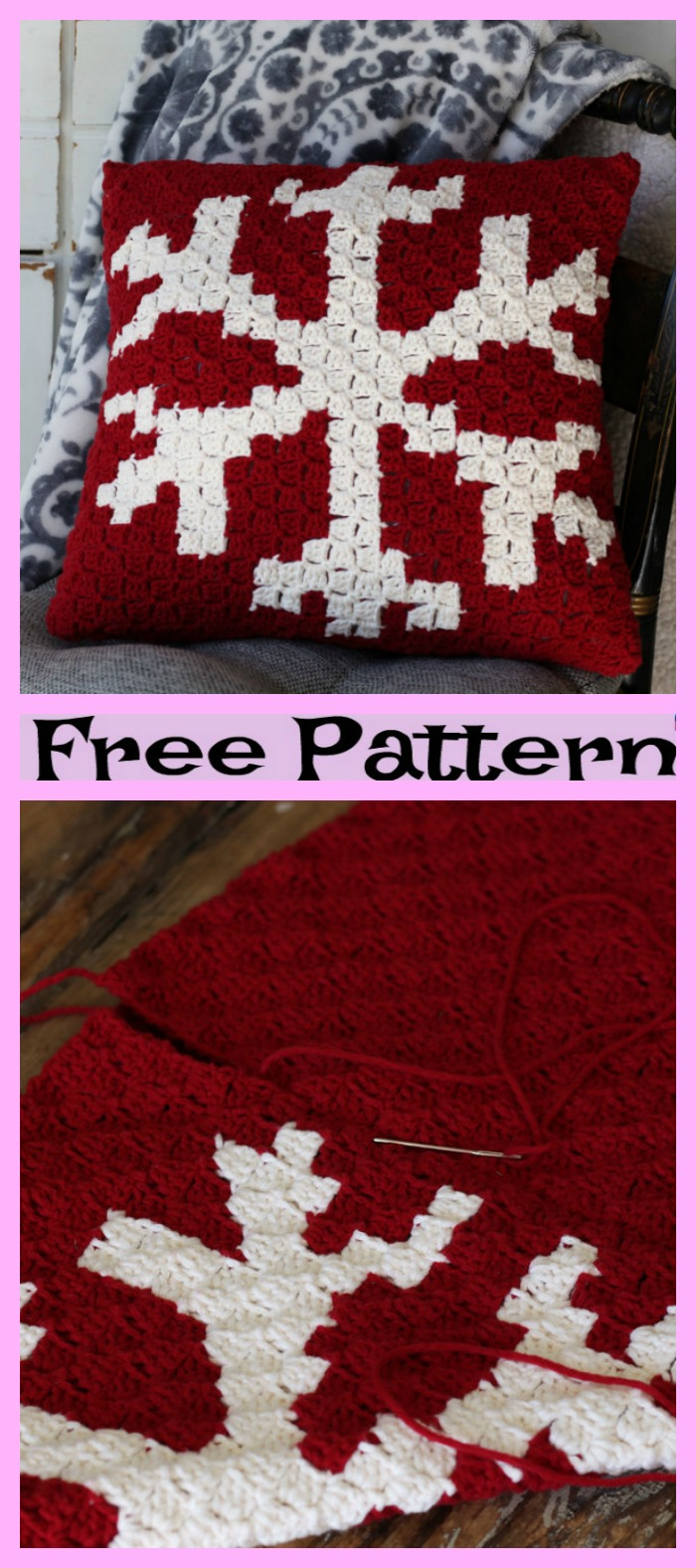diy4ever-Crochet Snowflake Pillow - Free Patterns