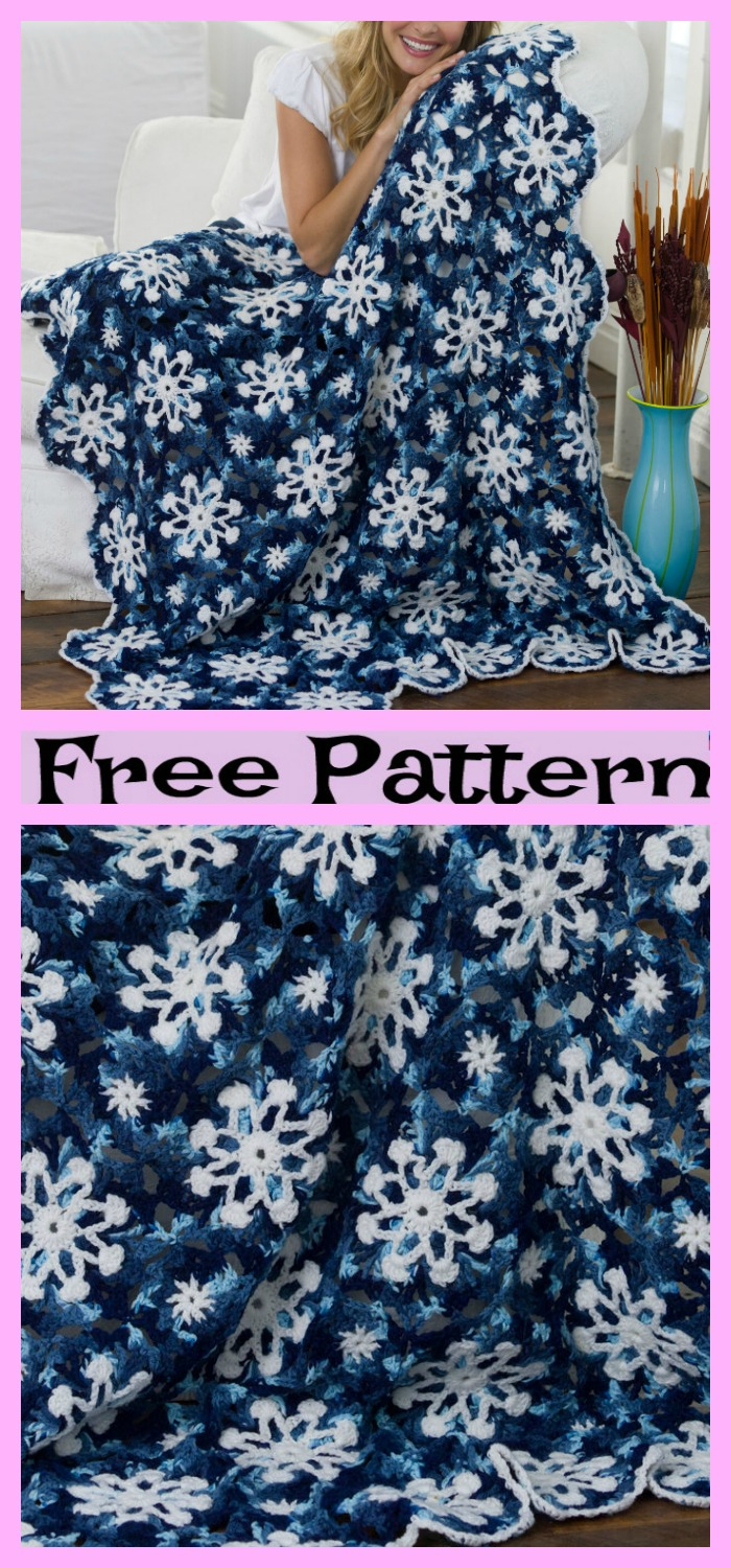 diy4ever-Crochet Snowflake Throw - Free Patterns