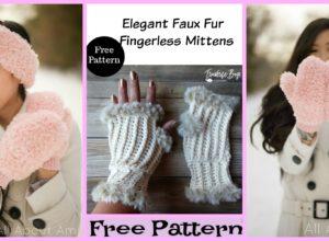 Elegant Faux Fur Crochet Mittens – Free Patterns