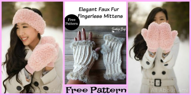 Elegant Faux Fur Crochet Mittens – Free Patterns