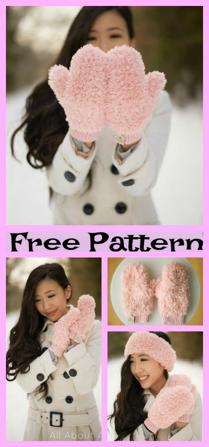 diy4ever-Elegant Faux Fur Crochet Mittens - Free Patterns