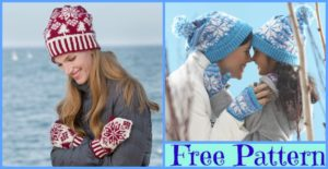 diy4ever-Knit Snowflake Hat Mittens Set - Free Patterns