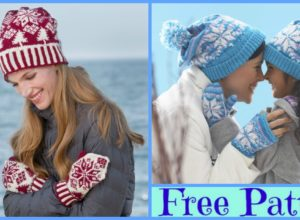 Knit Snowflake Hat Mittens Set – Free Patterns