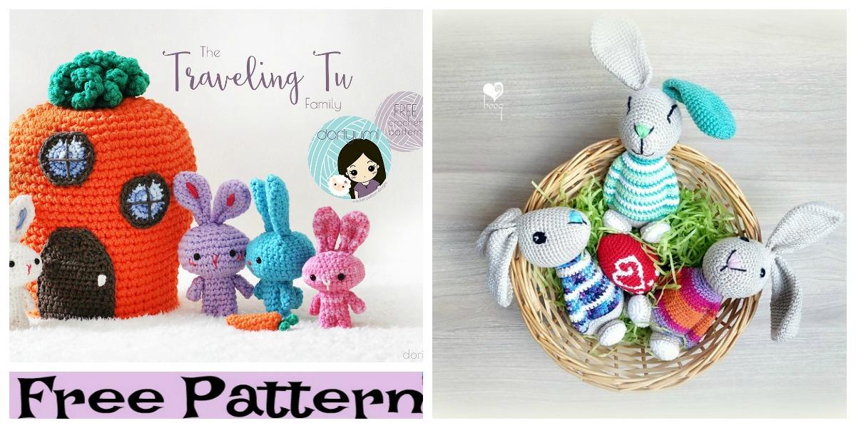 Pattern: Bunny Family Amigurumi crochet pattern PDF | Etsy | 600x1200