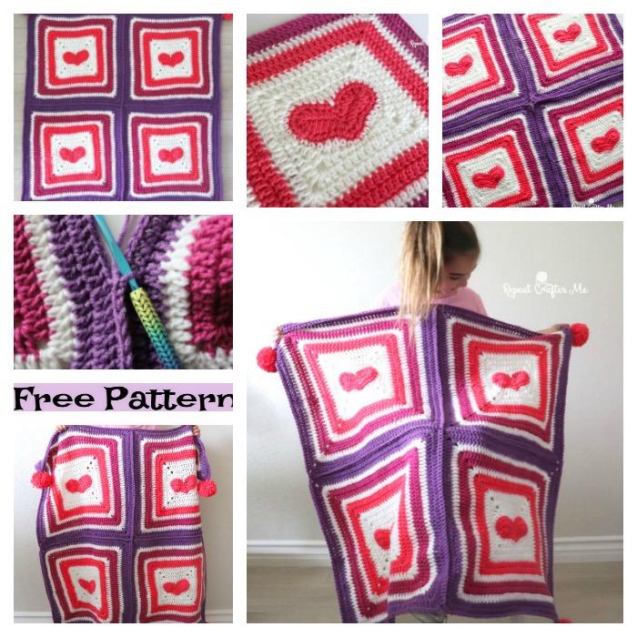 Crochet Heart Blanket - Free Pattern