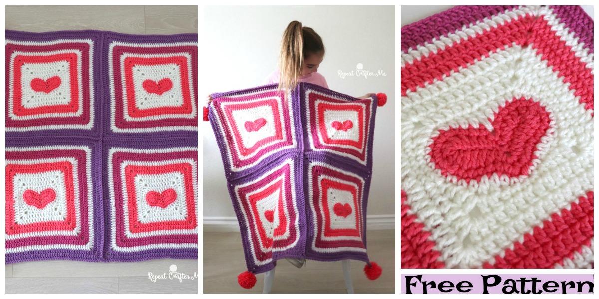 diy4ever Crochet Heart Blanket Free Pattern F