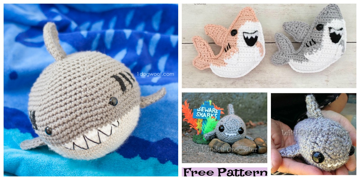 Shark amigurumi pattern crochet toy | 600x1200