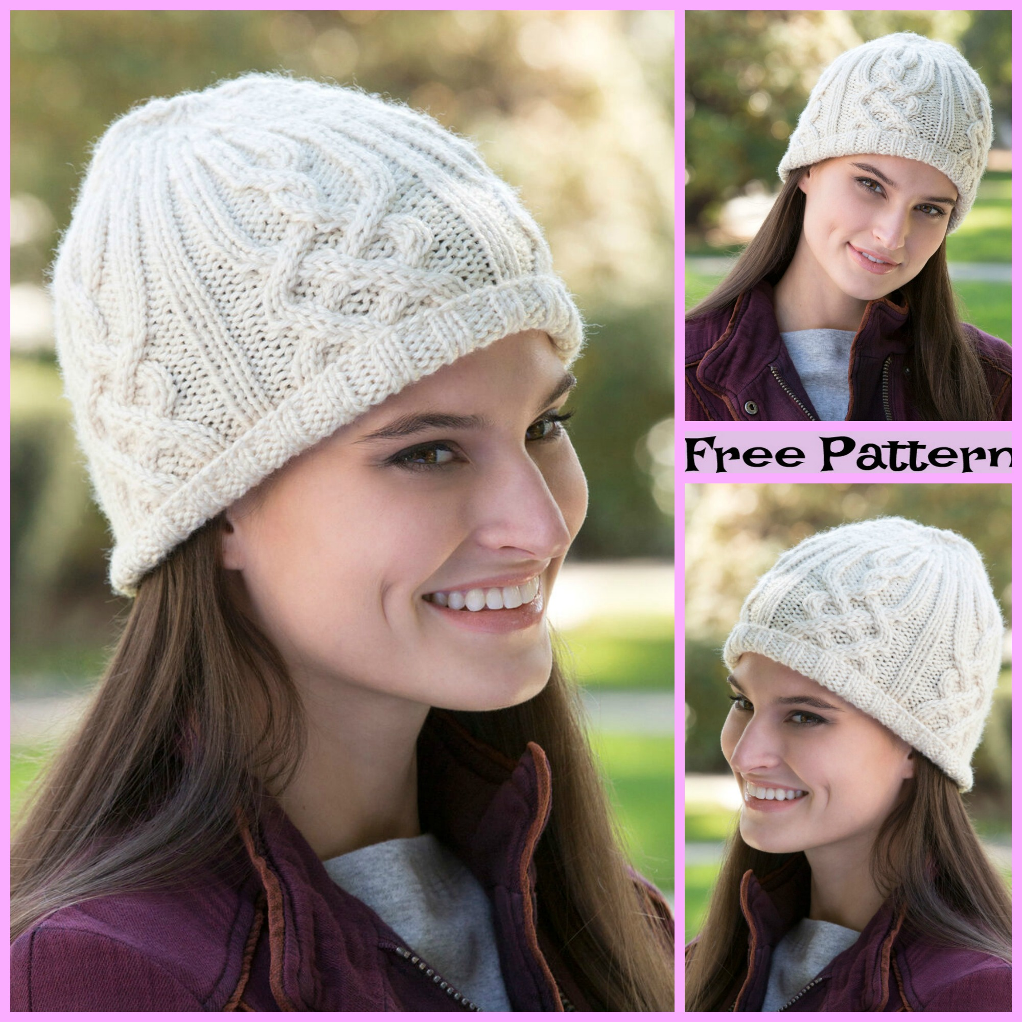 diy4ever-Knit Cozy Cable Hats - Free Patterns