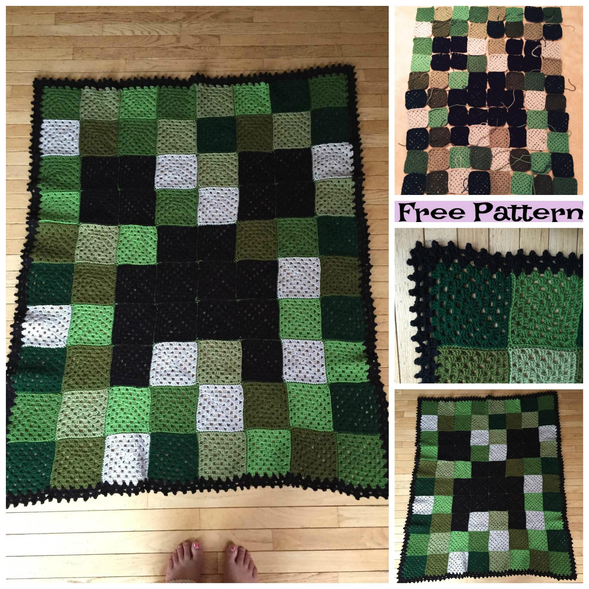 diy4ever-Minecraft Creeper Blanket - Free Patterns