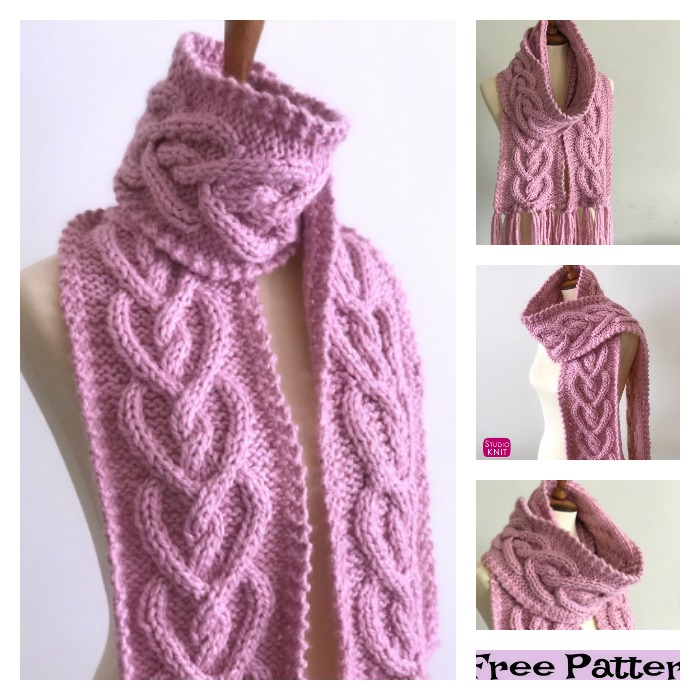 diy4ever-Pretty Knitted Heart Scarf - Free Patterns