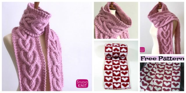 Pretty Knitted Heart Scarf – Free Patterns