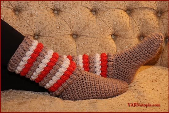 diy4ever-6 Cozy Crochet Slipper Boots - Free Patterns