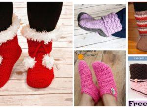 6 Cozy Crochet Slipper Boots – Free Patterns