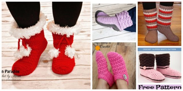 6 Cozy Crochet Slipper Boots – Free Patterns