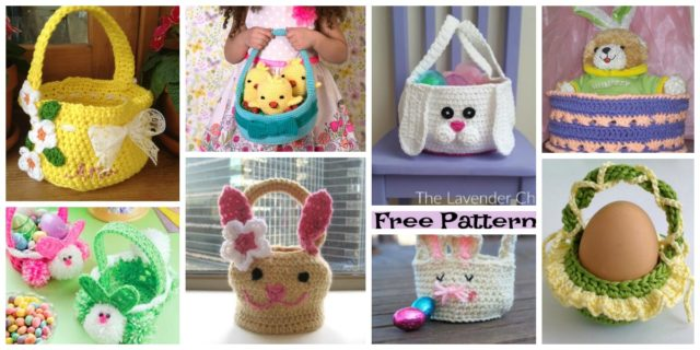 8 Crochet Easter Egg baskets-  Free Patterns