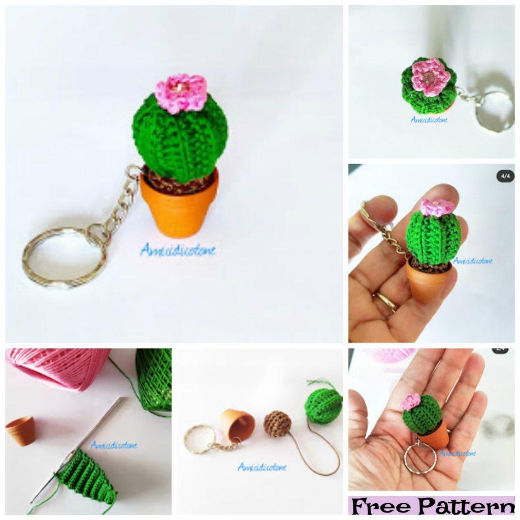 diy4ever-Crochet Cactus Keychain Free Patterns