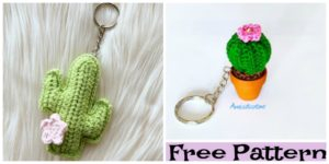 diy4ever-Crochet Cactus Keychain Free Patterns
