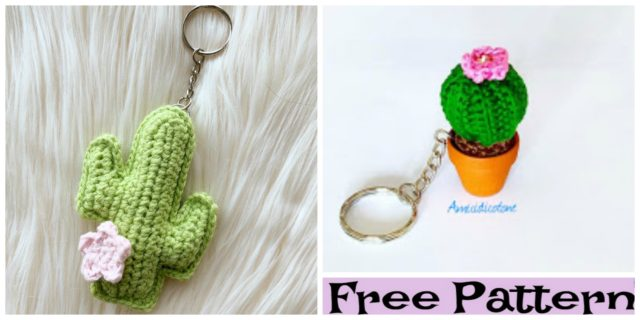 Crochet Cactus Keychain Free Patterns
