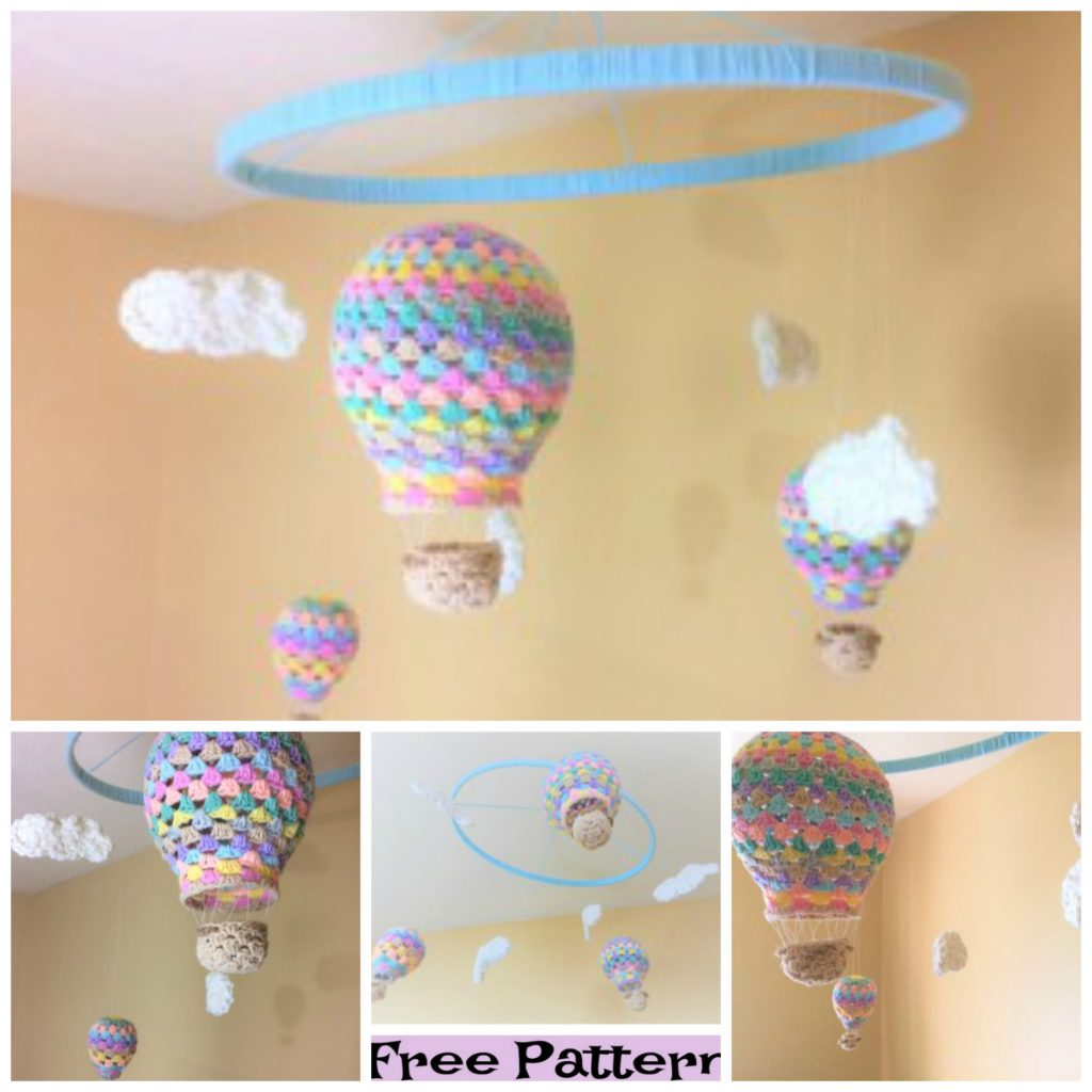 diy4ever-Crochet Hot Air Balloon Nursery Mobile - Free Patterns