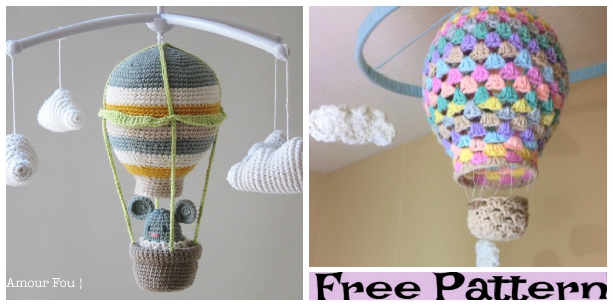 Adorable Crochet Hot Air Balloon Mobile Pattern | The WHOot | 600x1200