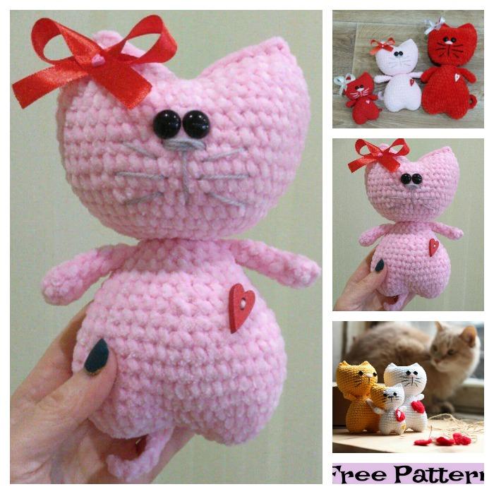 diy4ever-Crochet Kitty Heart Amigurumi - Free Patterns