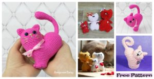 diy4ever-Crochet Kitty Heart Amigurumi - Free Patterns