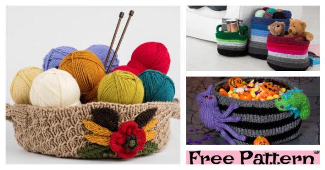 Beautiful Knitting Basket – Free Patterns