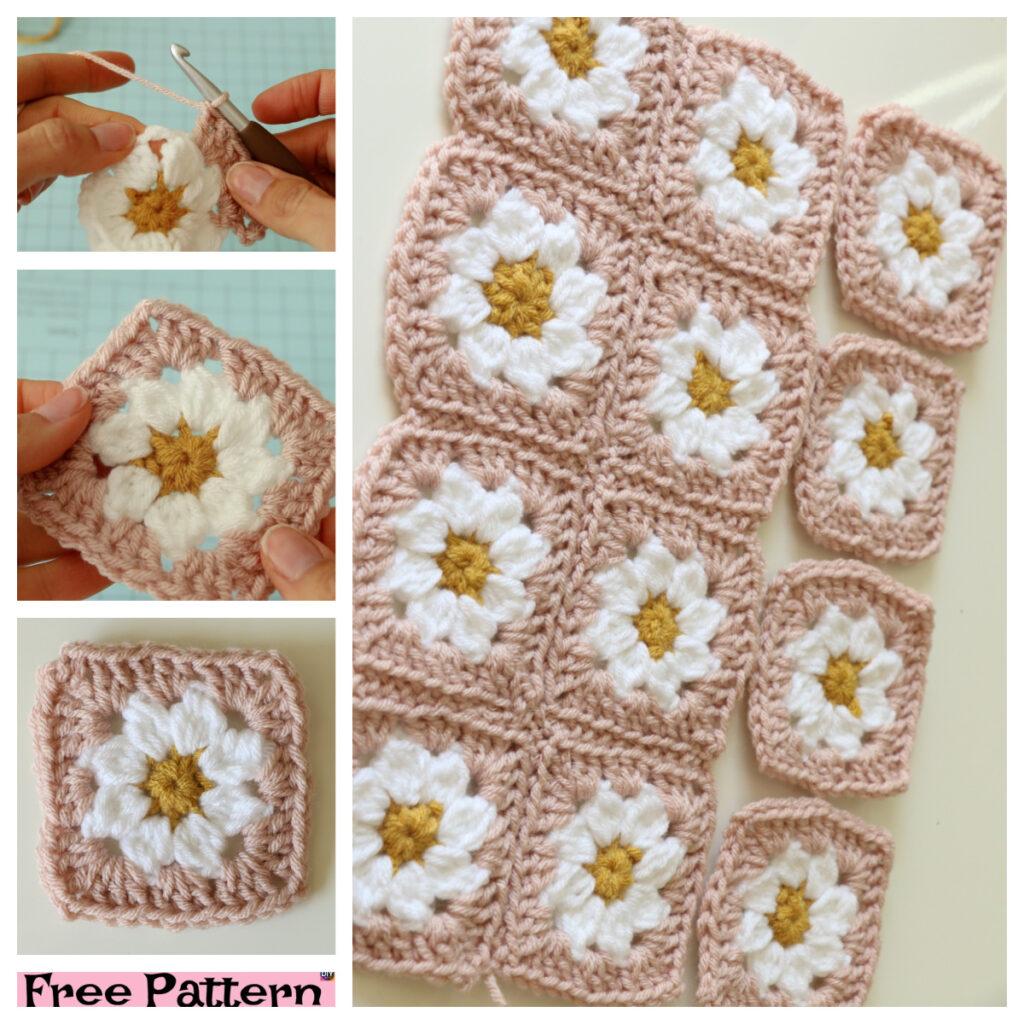 Crochet Daisy Granny Square - Free Pattern