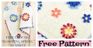 Cute Crochet 3D Flower Blanket - Free Pattern