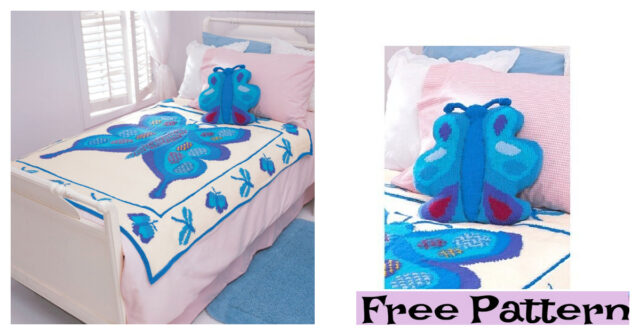 Knitted Butterfly Blanket and Pillow – Free Patterns