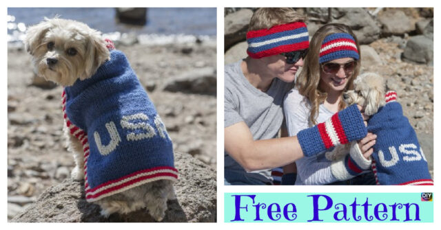 Knitted USA Dog Sweater –  Free Pattern