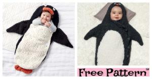 Knitting Penguin Bunting Bag - Free Patterns