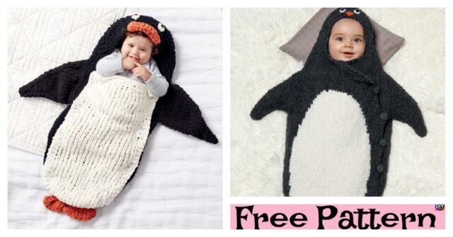 Knitting Penguin Bunting Bag – Free Patterns