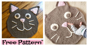 Cute Kitty Crochet Play Rug - Free Pattern
