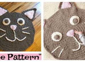 Cute Kitty Crochet Play Rug – Free Pattern