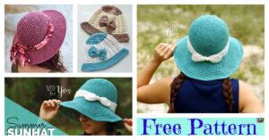 Crochet Brimmed Summer Hat - Free Patterns