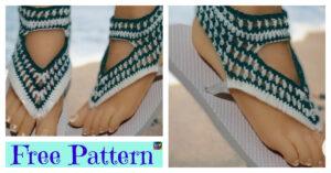 No Sew Crochet Flip Flops - Free Pattern