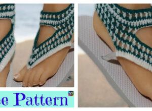 No Sew Crochet Flip Flops – Free Pattern