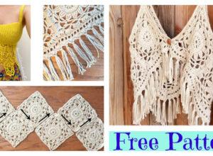 Pretty Crochet Boho Tank Top – Free Patterns