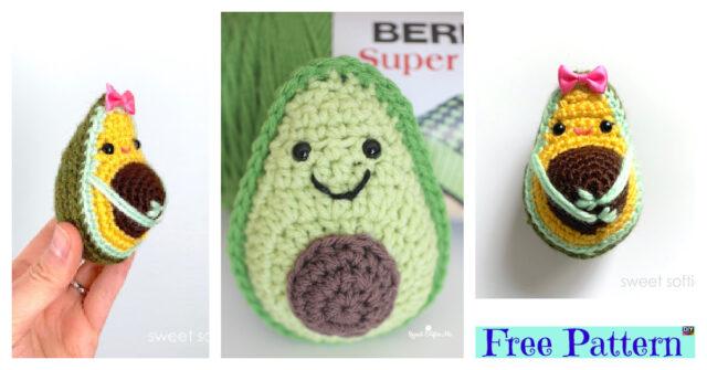 Cute Crochet Avocado Softie – Free Patterns