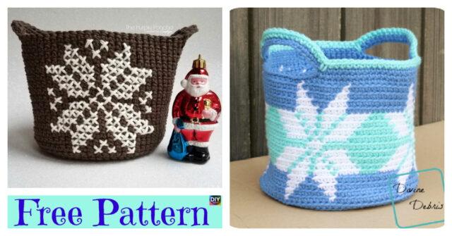 Pretty Crochet Snowflake Basket – Free Patterns