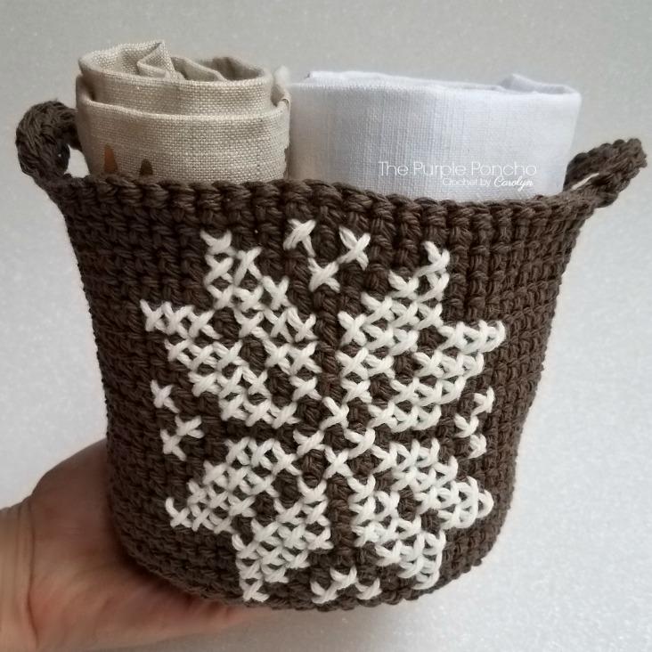 Pretty Crochet Snowflake Basket - Free Patterns